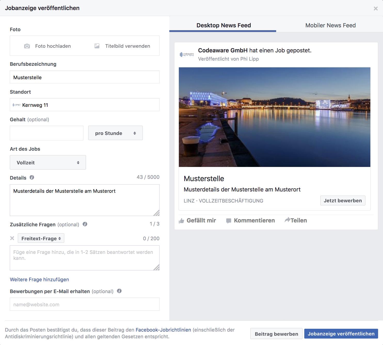 Facebook Stellenausschreibung erstellen