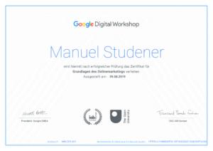 Zertifikat: Grundlagen des Onlinemarketings