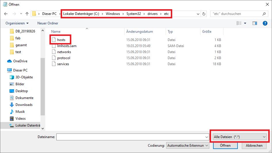 Beispiel: Hosts-Datei unter Windows