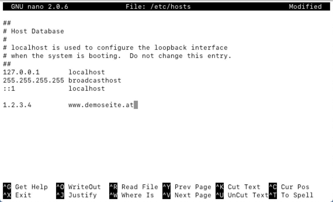 Beispiel: Hosts-Datei unter Linux/Mac
