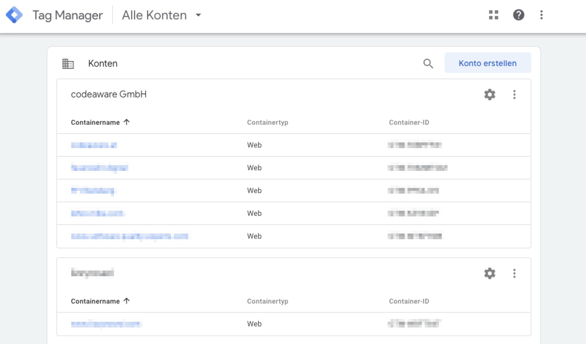 Google Tag Manager – Kontoverwaltung