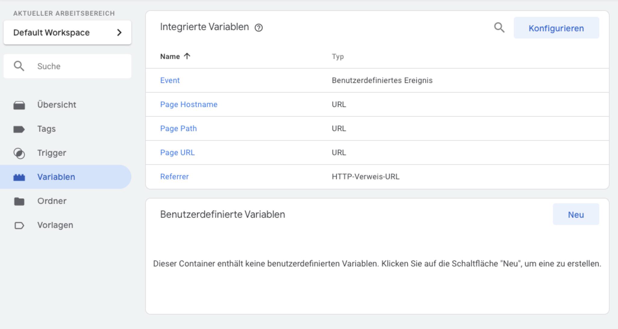 Google Tag Manager – Variablen