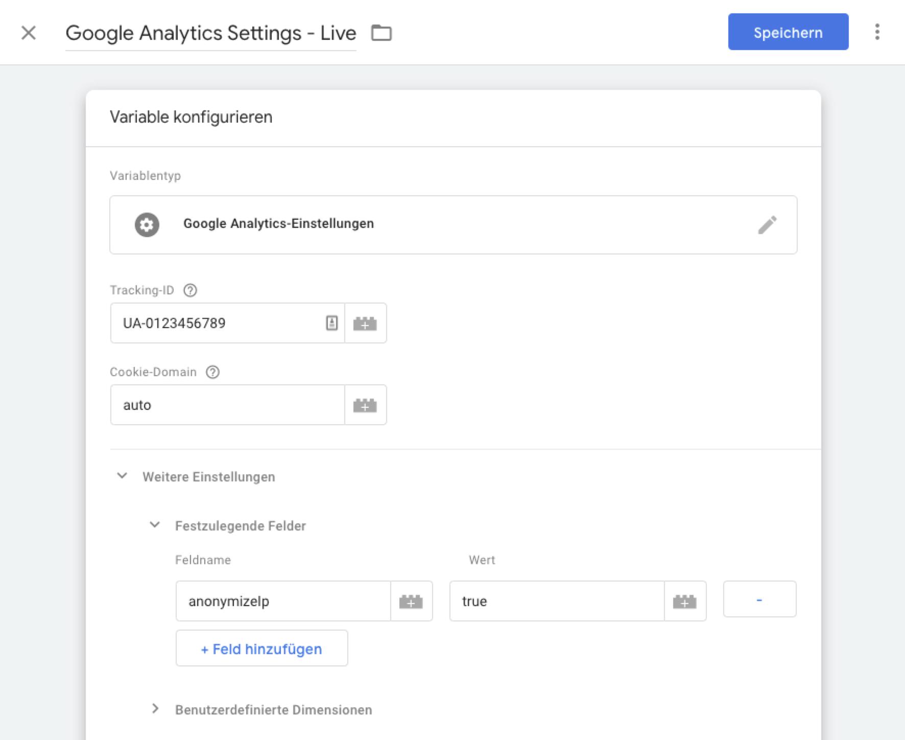 Google Tag Manager – Google Analytics Einstellungen
